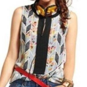 CAbi sleeveless white black floral geometric top